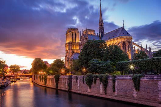 Заставки France, закат, Notre Dame