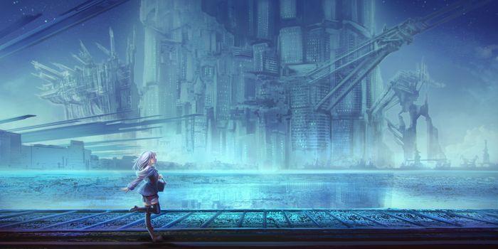 Фото бесплатно аниме девушка, живописный, steampunk world