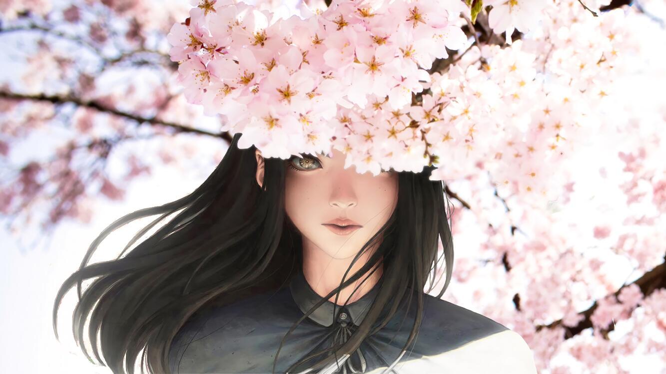 Фото аниме девушка полупрозрачный цветение сакуры - бесплатные картинки на Fonwall