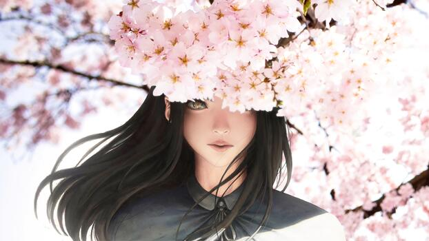 Photo free anime girl, semi realistic, sakura blossom