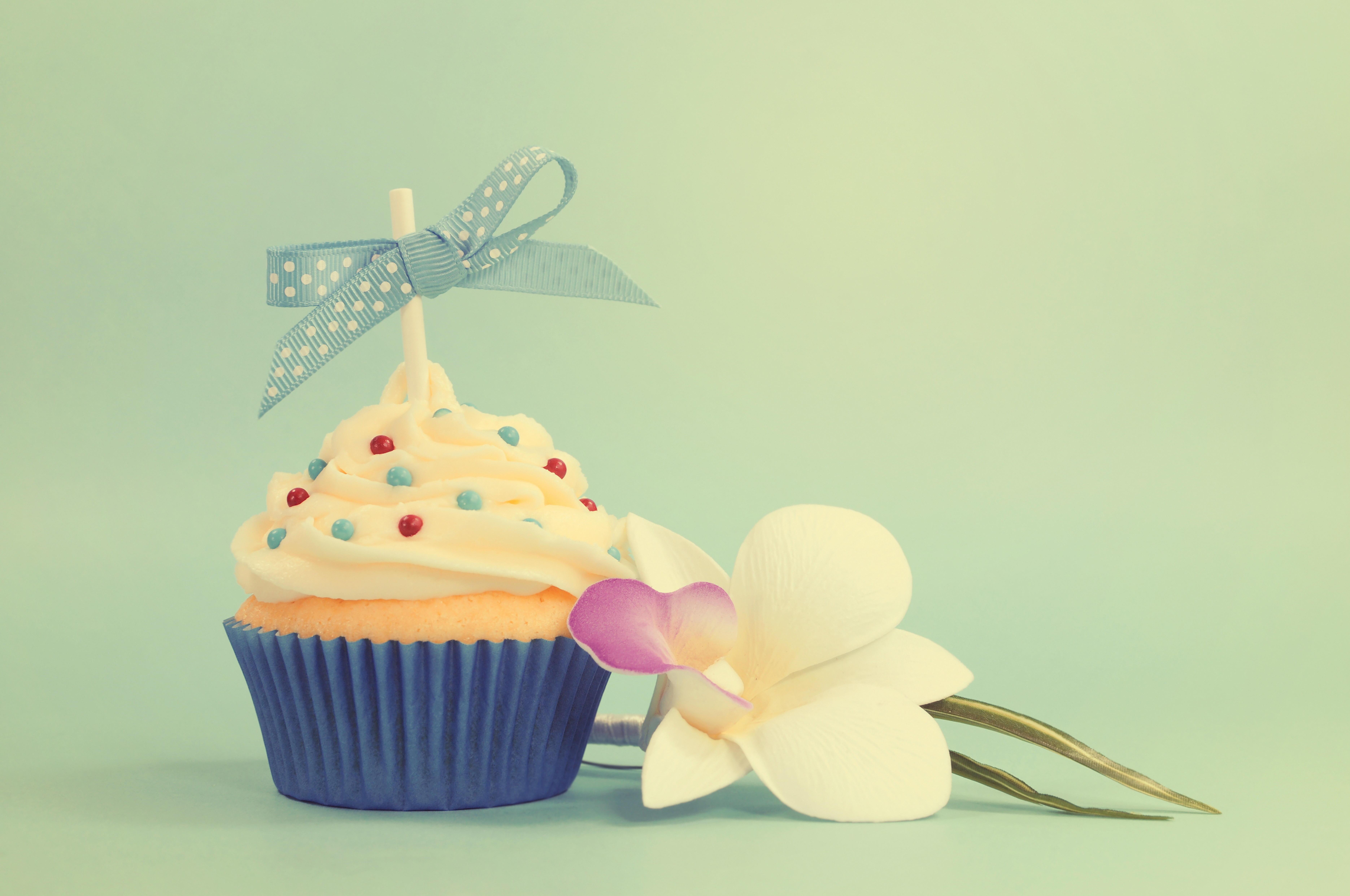 Обои кекс, день рождения, цветок, бантик