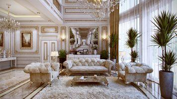 Заставки комната, люстра, диван