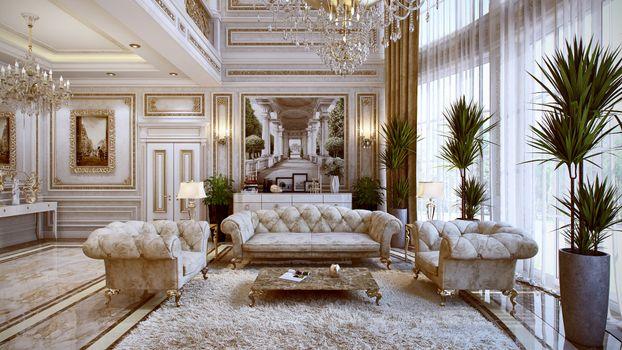 Photo free room, chandelier, sofa