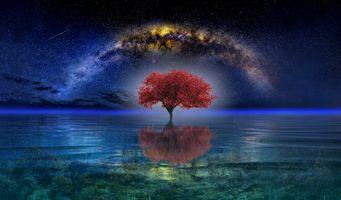 Фото бесплатно млечный путь, сияние, море