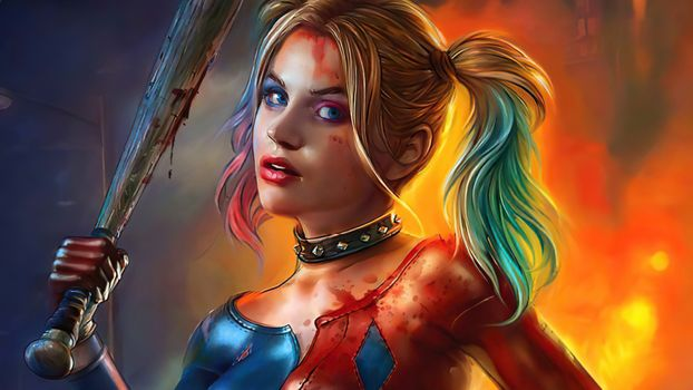 Download the harley quinn screensaver, artist on the phone for free