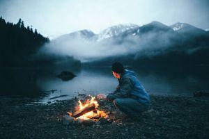 Фото бесплатно камин, огонь, пейзаж
