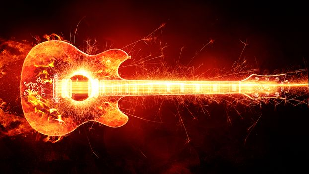 Фото бесплатно гитара, огонь, креатив