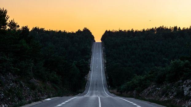 Photo free long road, France, sunset