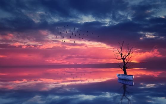 Фото бесплатно стая птиц, арт, озеро