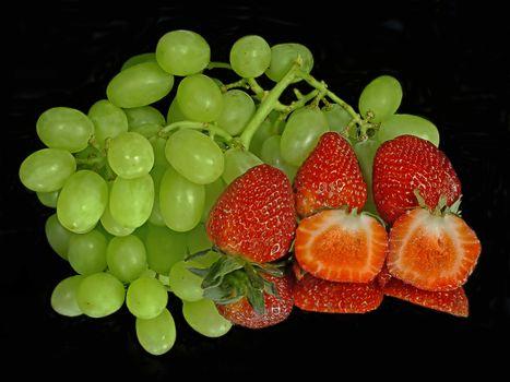 Photo free grapes, strawberries, fruit