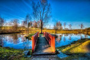 Бесплатные фото озеро, осень, деревья, мост, пейзаж
