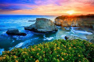 Бесплатные фото закат,море,скалы,берег,цветы,волны,пейзаж