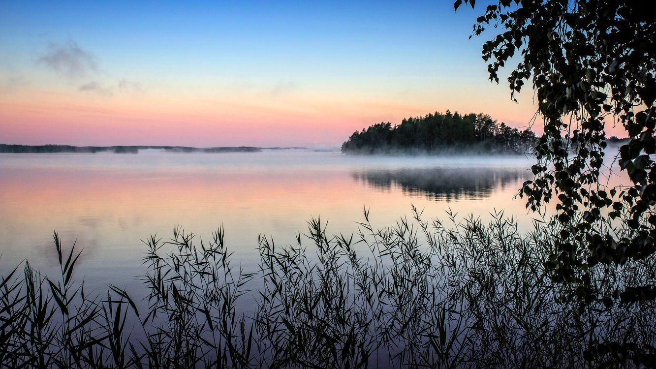 Фото бесплатно туман, утро, озеро, Финляндия, закат солнца, пейзаж - на рабочий стол
