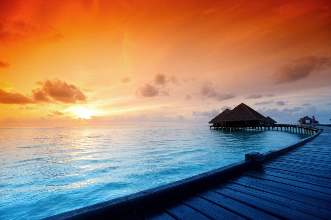 Фото бесплатно Мальдивские о-ва, закат, море - на рабочий стол