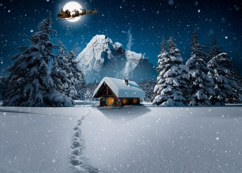 Photo free house, Christmas, drifts