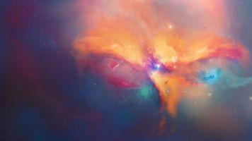 Фото бесплатно красочная туманность, галактика, сияющие звёзды