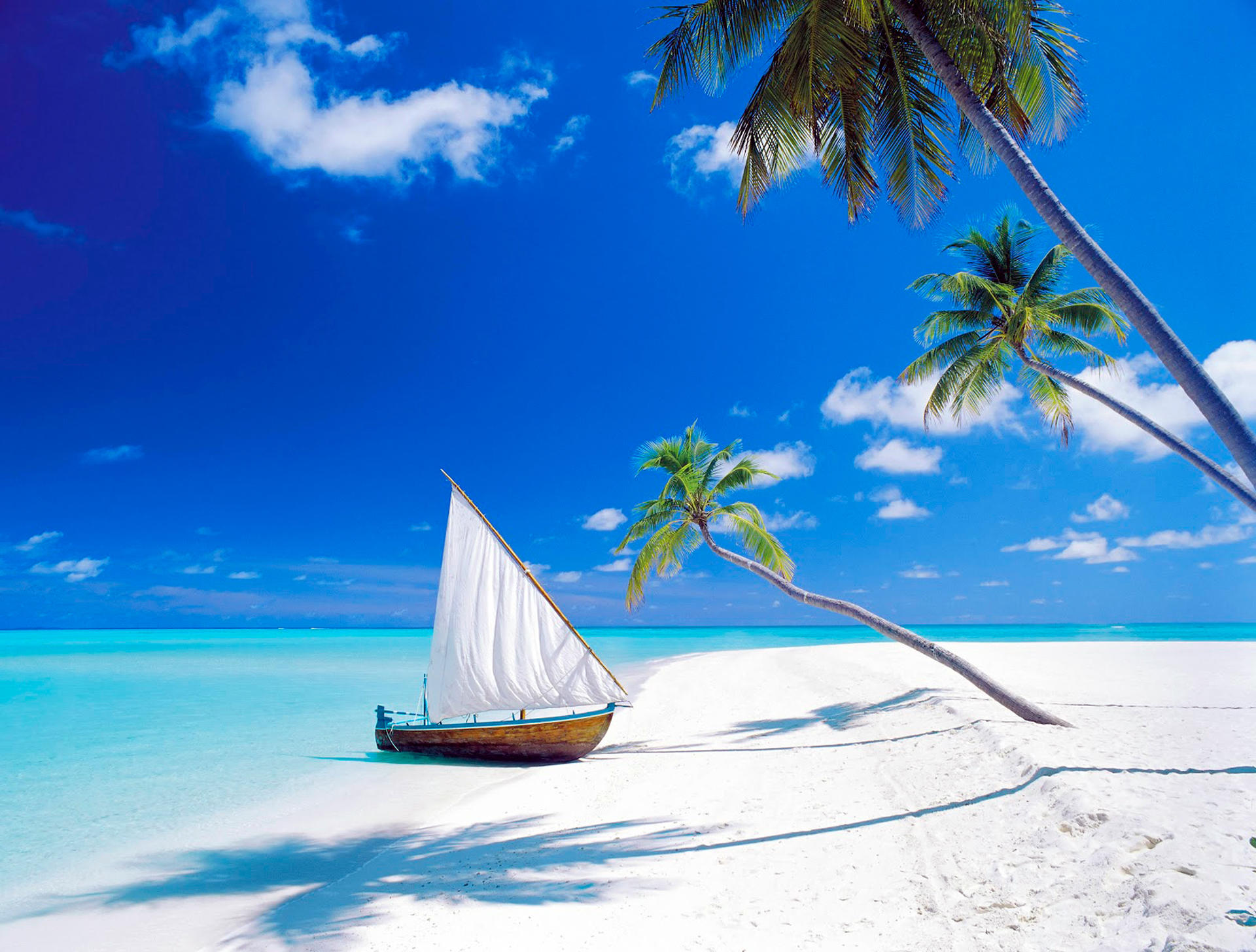Обои море, песок, пляж, лодка