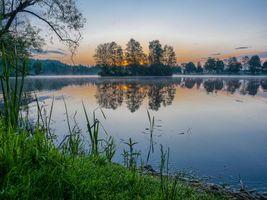 Заставки закат,озеро,деревья,Финляндия,небо,отражение,пейзаж