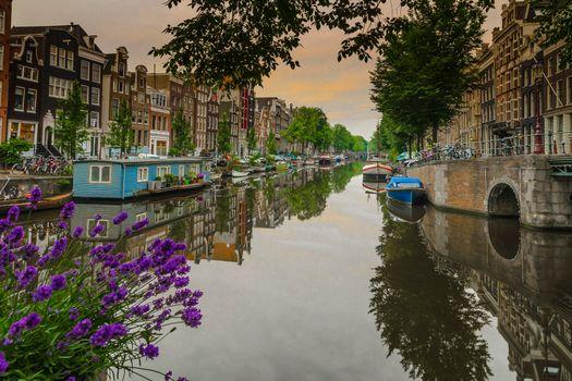 Фото бесплатно Амстердам, Нидерланды, канал
