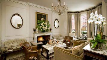 Фото бесплатно гостиная, орхидея, камин