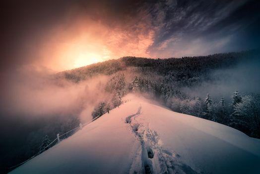Photo free Winter Morning in Italian Alps, mountains, sunset
