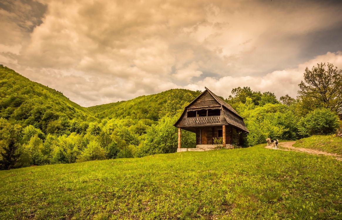 Фото бесплатно дом, деревья, холмы - на рабочий стол