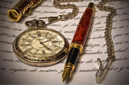 Photo free pen, clock, writing