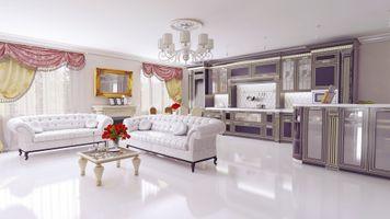 Фото бесплатно зеркало, диваны, шторы