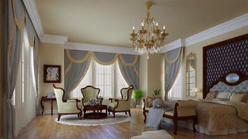 Заставки кровать, кресла, картины