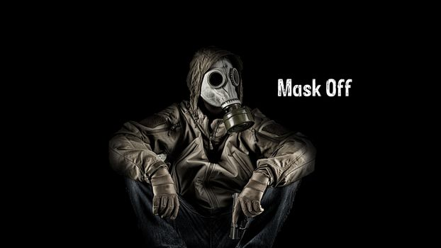 Photo free gas mask, pistol, chemical protection