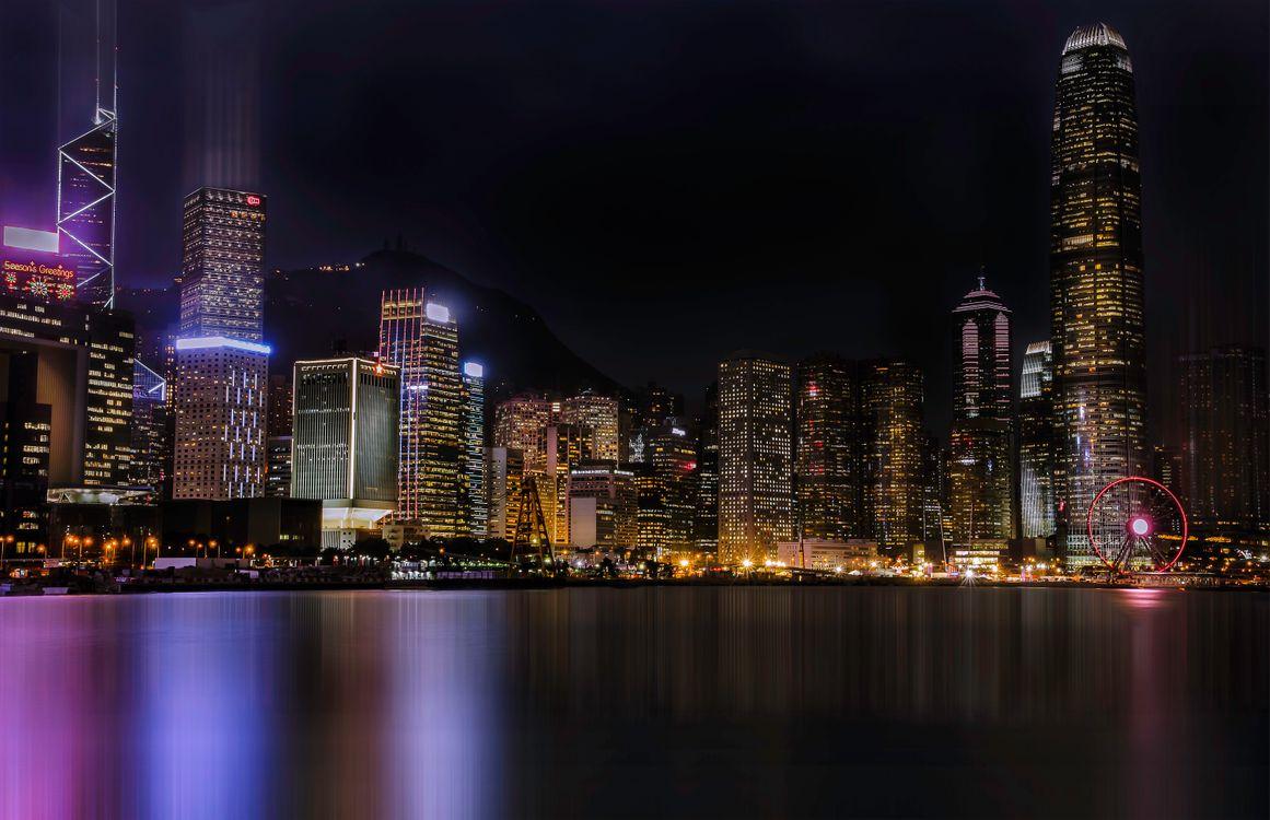 Фото бесплатно ночь город, небоскребы, пляж - на рабочий стол