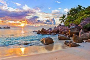 Бесплатные фото тропики,Сейшелы,море,остров,пляж,закат