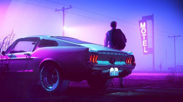 Photo free men, car, evening