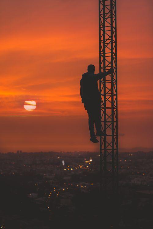 Фото бесплатно человек, силуэт, высота, небо, man, silhouette, height - на рабочий стол
