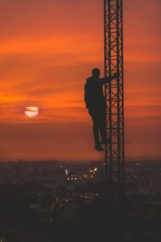 Бесплатные фото человек,силуэт,высота,небо,man,silhouette,height,sky