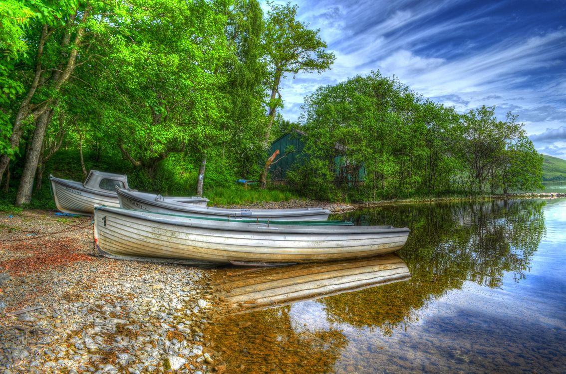 Фото бесплатно озеро, берег, лодки, лодка, деревья, пейзаж, пейзажи
