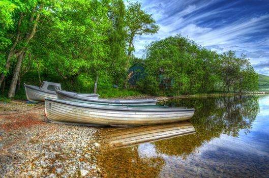 Заставки озеро, берег, лодки