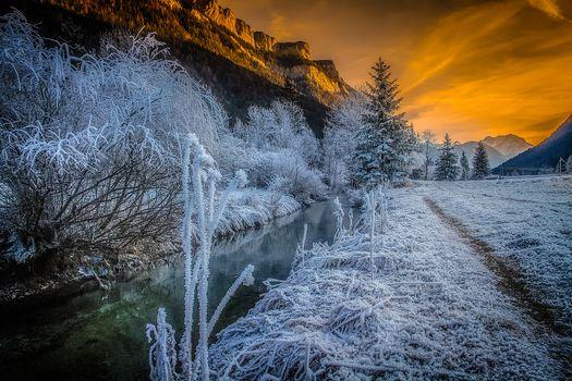 Заставки Waidring, Austria, закат