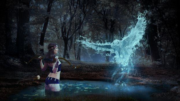 Фото бесплатно ночь, девушка, сова