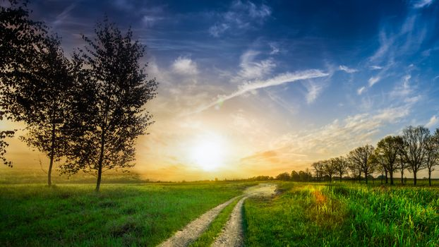 Photo free sunset, sky, countryside