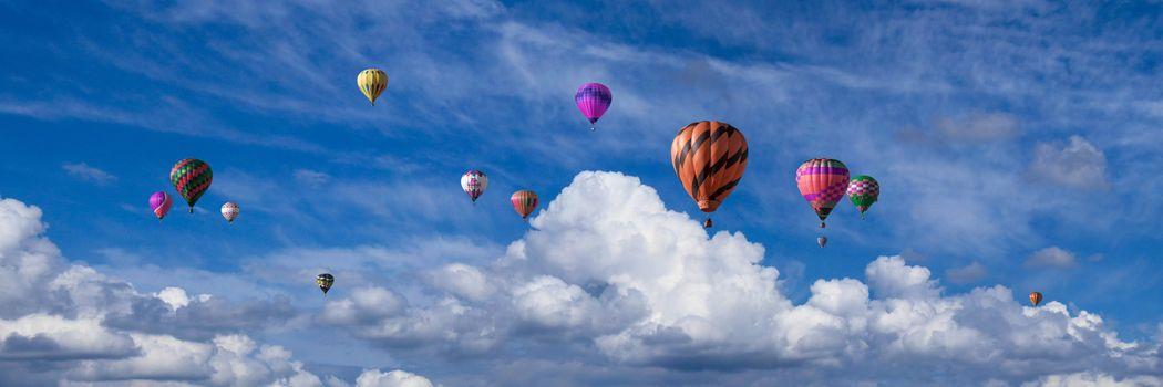 Фото бесплатно воздушные шары, облака, панорама