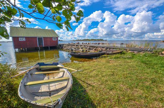 Фото бесплатно озеро, лодка, домик