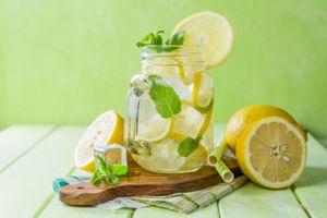 Бесплатные фото напиток, лимонад, мята, банка, лимоны, лёд
