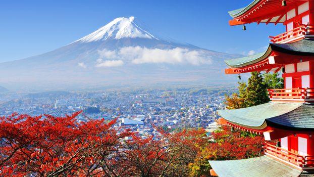 Фото бесплатно япония, гора фудзи, традиционное здание