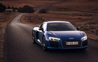 Фото бесплатно Audi r8 v10, синий, длинная дорога