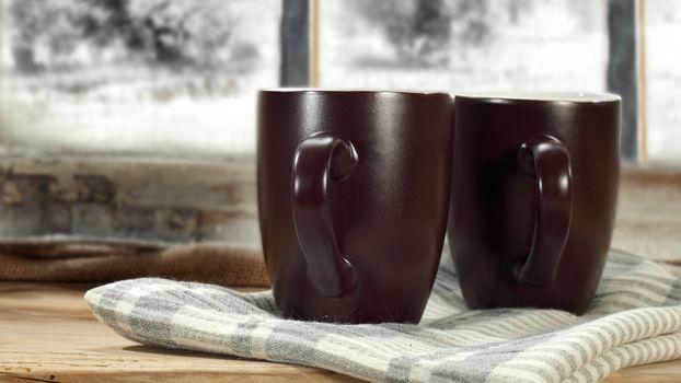 Photo free towel, brown cups, drinks