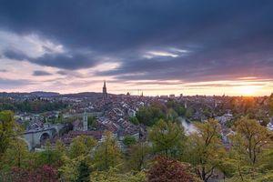 Бесплатные фото Берн, Швейцария, город, закат