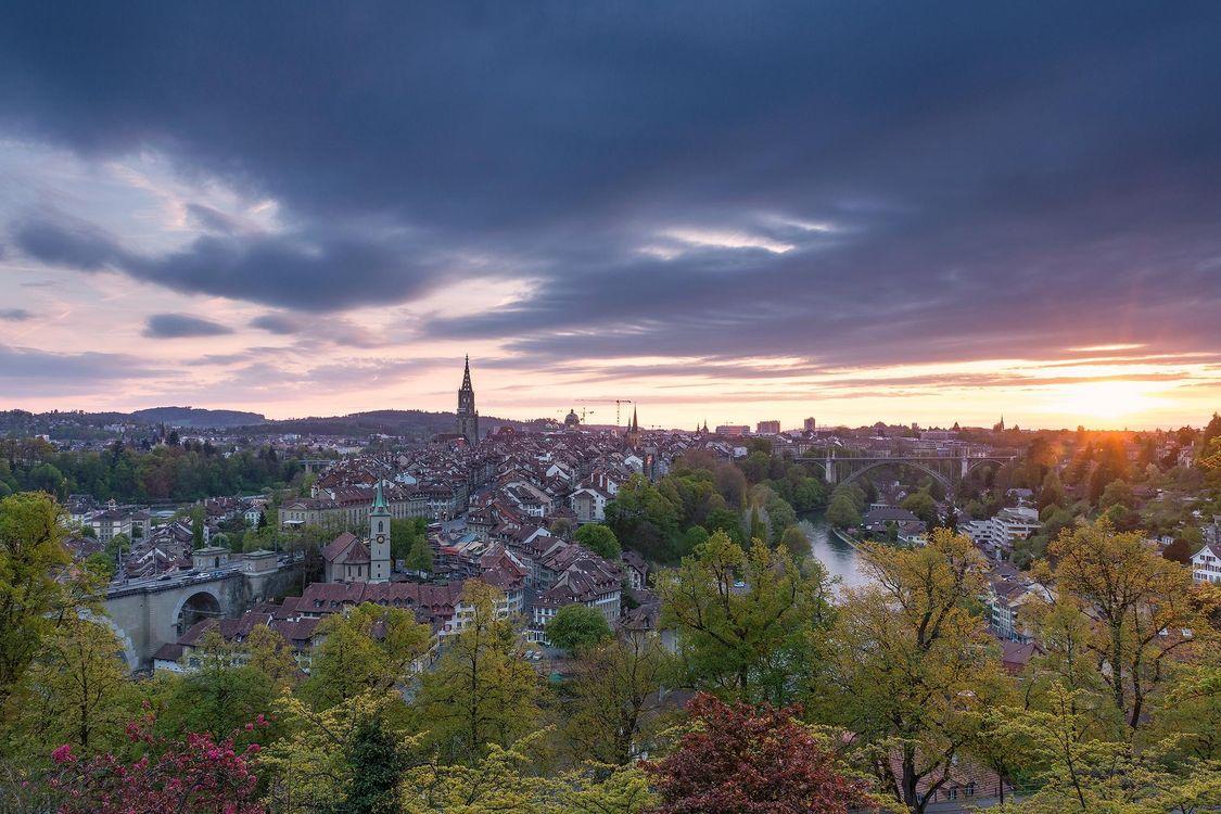 Фото бесплатно Берн, Швейцария, город, закат, город