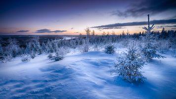 Бесплатные фото Финляндия,рассвет,восход солнца,синий,зима,снег,горы