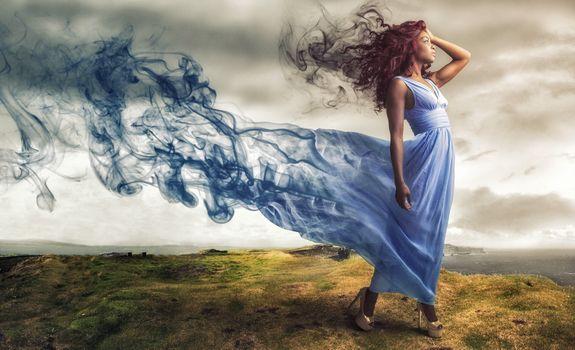 Заставки девушка, платье, дым